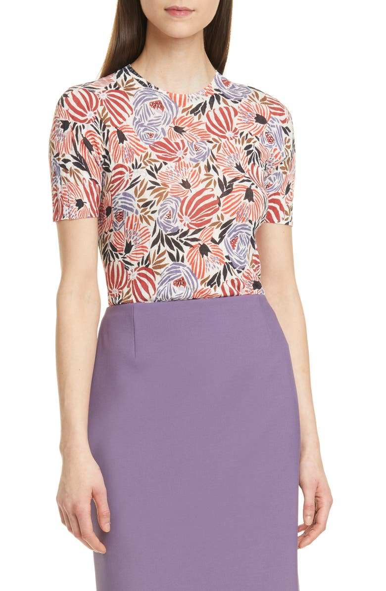 BOSS Faislee Floral Ribbed Top, Main, color, 801