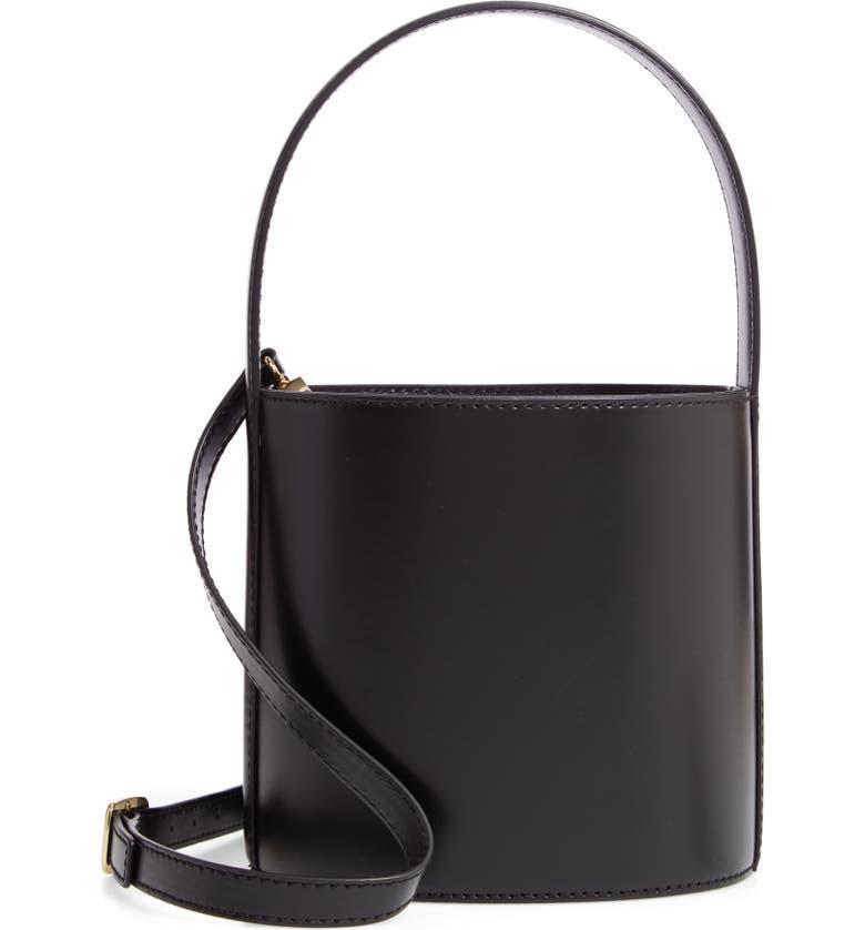 STAUD Bissett Leather Bucket Bag, Main, color, NOIR