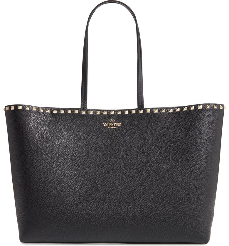 VALENTINO GARAVANI Rockstud Leather Tote, Main, color, BLACK ROCKSTUD