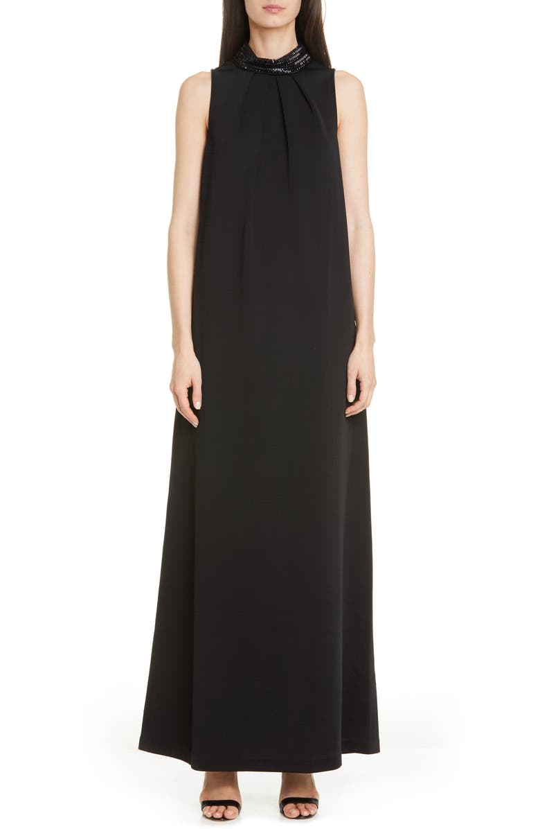 ST. JOHN EVENING Embellished Liquid Milano Knit Gown, Main, color, 001