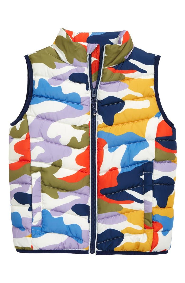 MINI BODEN Water Resistant Puffer Vest, Main, color, COLLEGE BLUE/ RAINBOW CAMO