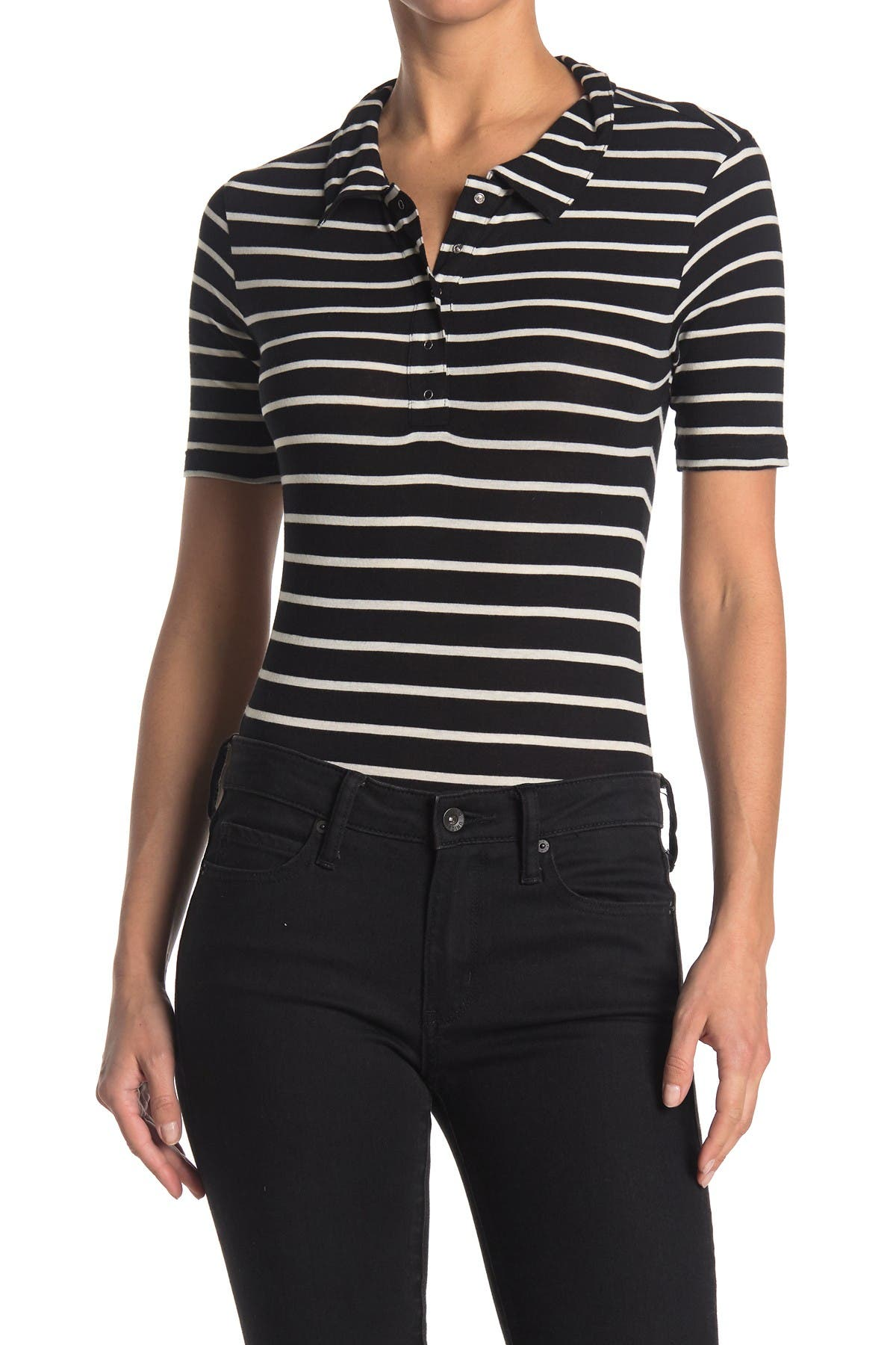 Image of Abound Stripe Print Short Sleeve Polo Bodysuit