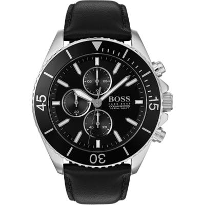 Boss Ocean Edition Chronograph Leather Strap Watch, 4m