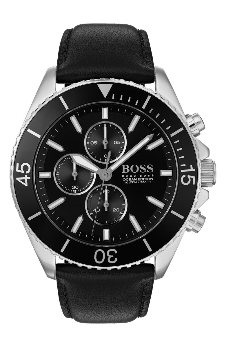 BOSS Ocean Edition Chronograph Leather Strap Watch, 46mm, Main, color, BLACK/ SILVER