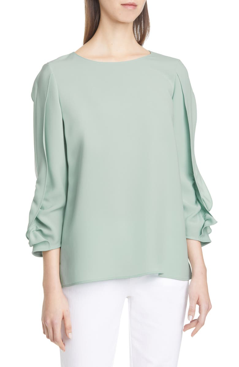 LAFAYETTE 148 NEW YORK Perrin Ruffle Sleeve Blouse, Main, color, SEAGLASS