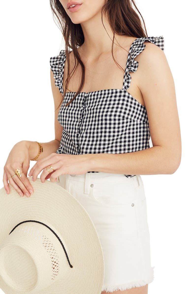 MADEWELL Gingham Ruffle Strap Camisole Top, Main, color, 001