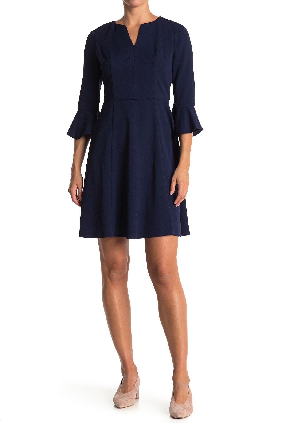 Image of London Times Ruffle Cuff Fit & Flare Dress