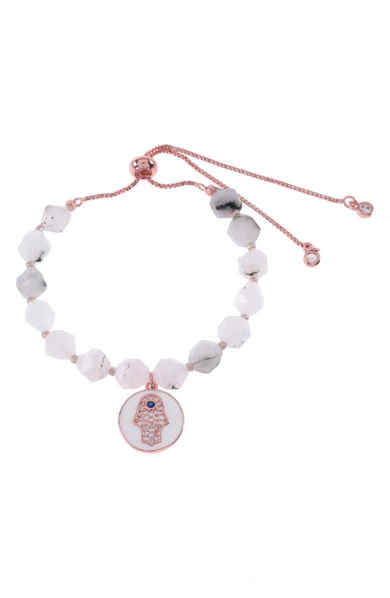 NAKAMOL CHICAGO Hamsa Charm Beaded Bracelet, Main, color, WHITE