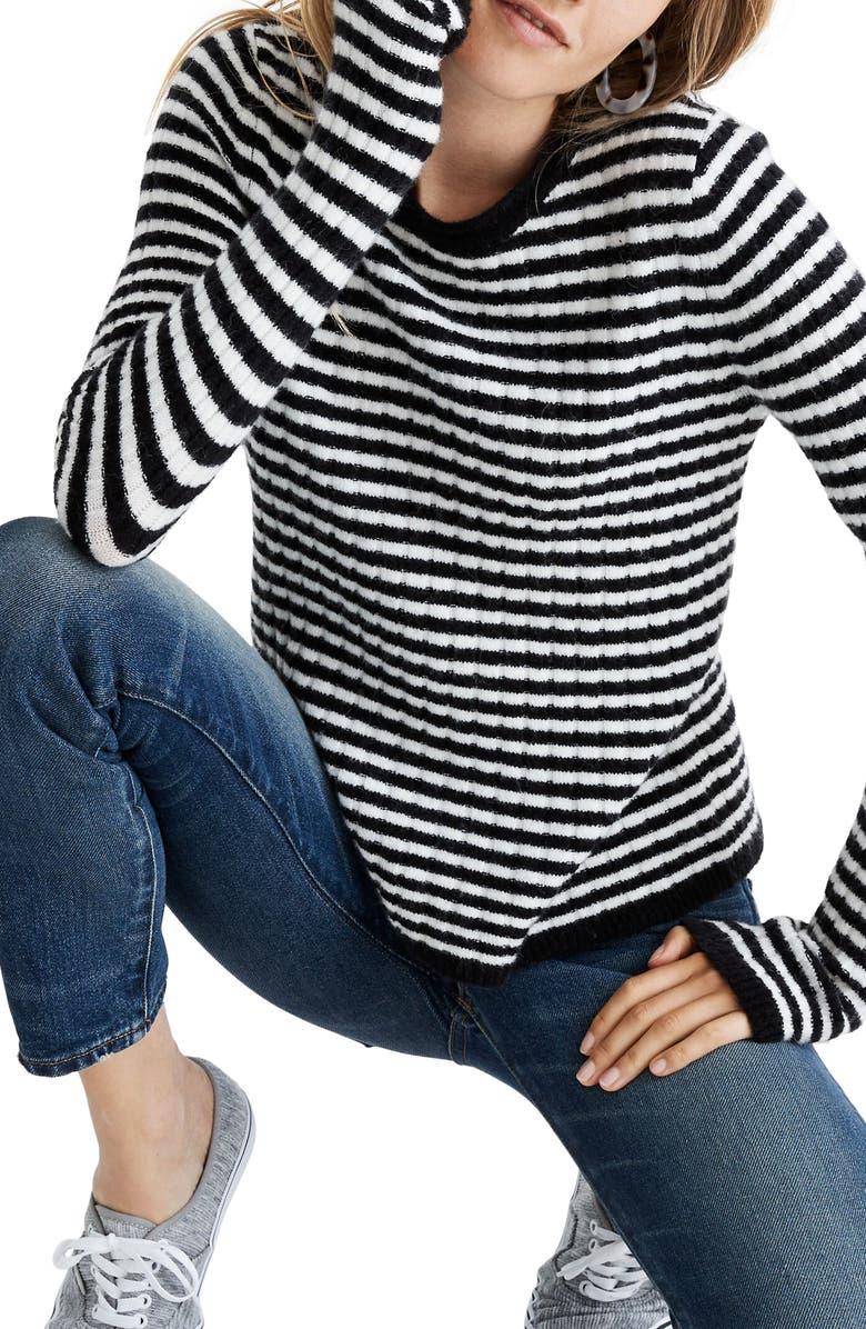 MADEWELL Colette Sweater in Leamore Stripe, Main, color, TRUE BLACK