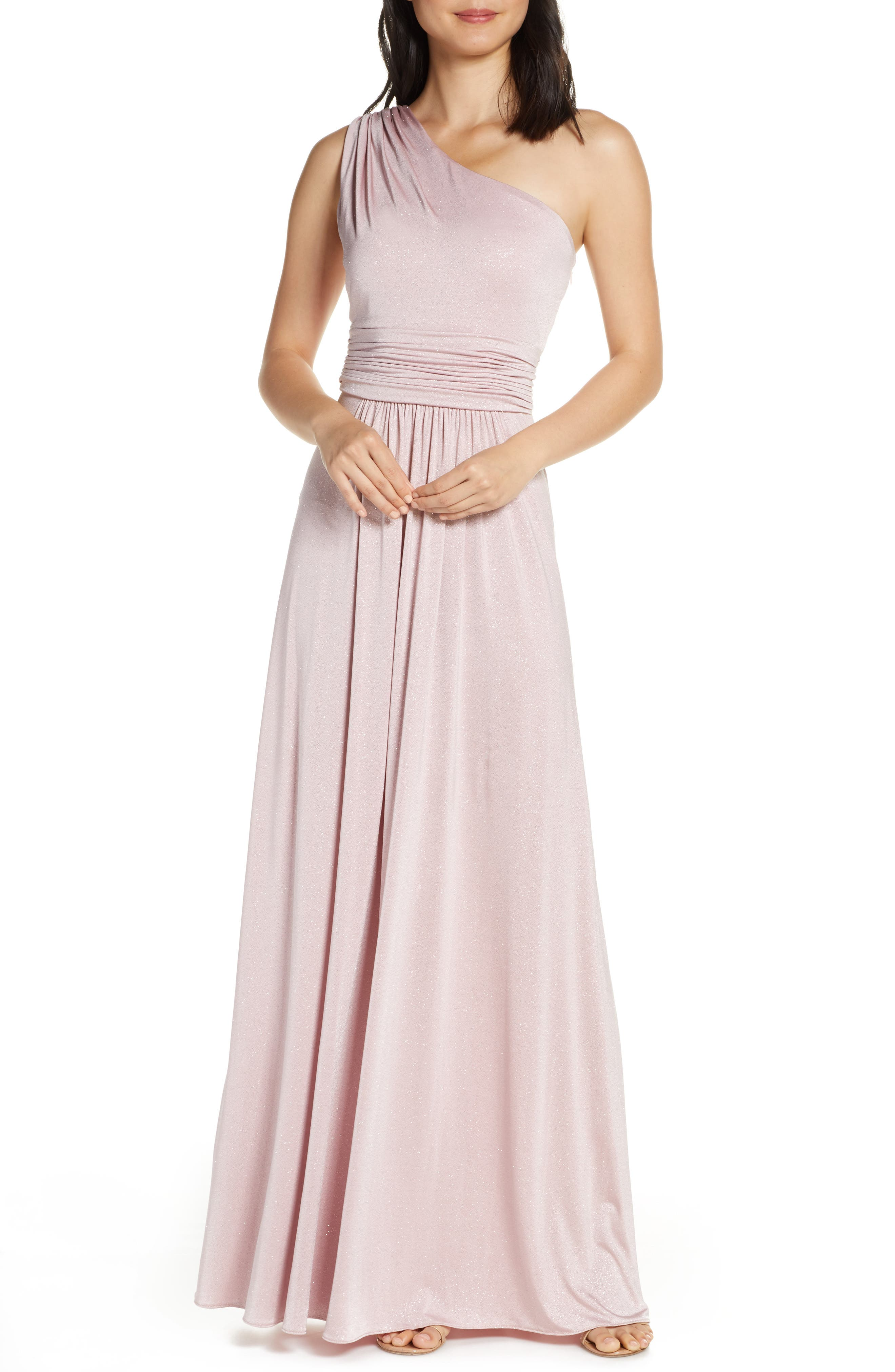 Vince Camuto One-Shoulder Glitter Gown, Pink