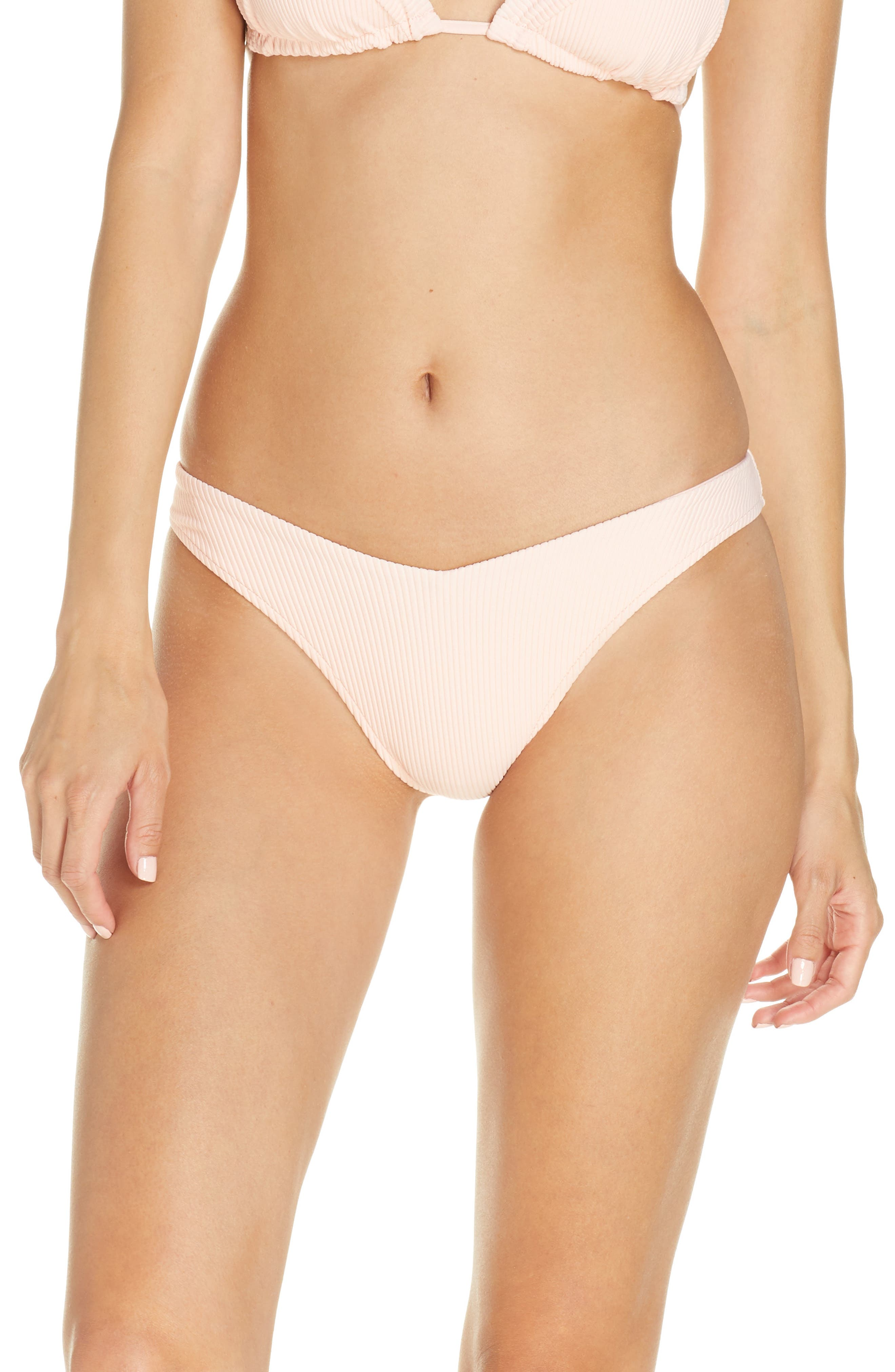An alluring V-shape and high-cut legs put this ribbed bikini bottom in a league of her own. Style Name: Frankies Bikinis Enzo Bikini Bottoms. Style Number: 5967139. Available in stores.