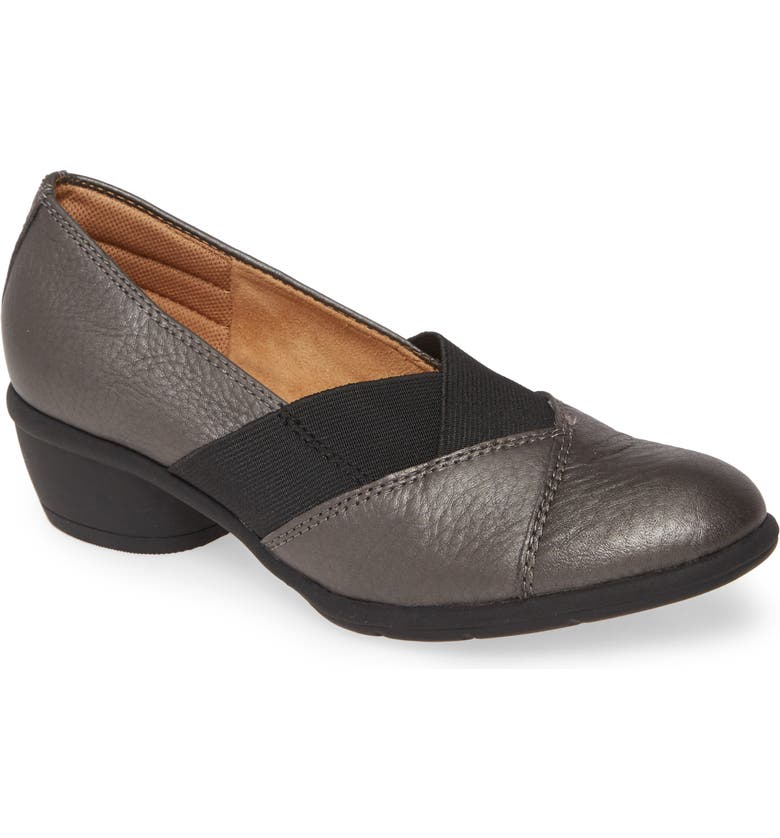 COMFORTIVA Quinton Low Heel Pump, Main, color, PEWTER METALLIC LEATHER
