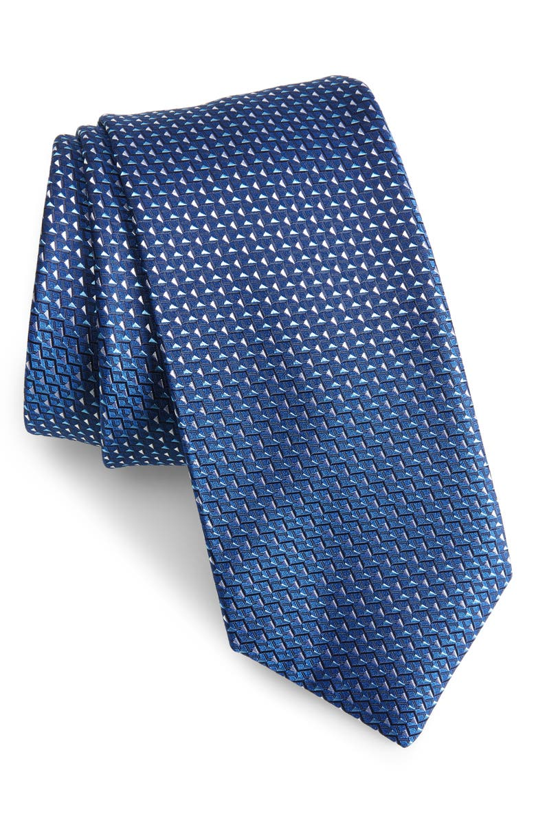 BOSS Geometric Diamond Tie, Main, color, BLUE