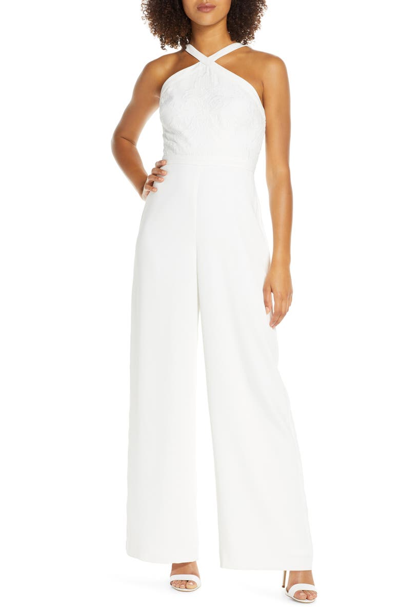 EVER NEW Ally Embroidered Halter Jumpsuit, Main, color, IVORY