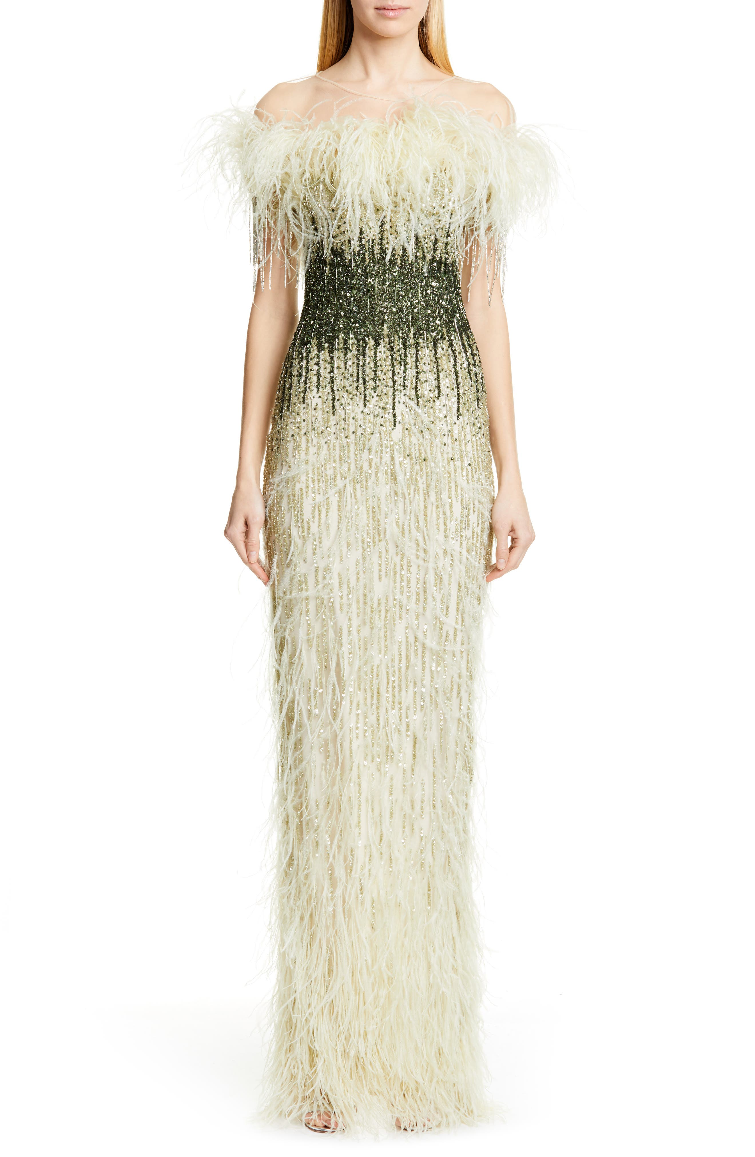 Pamella Roland Off The Shoulder Feather & Sequin Column Gown, Ivory