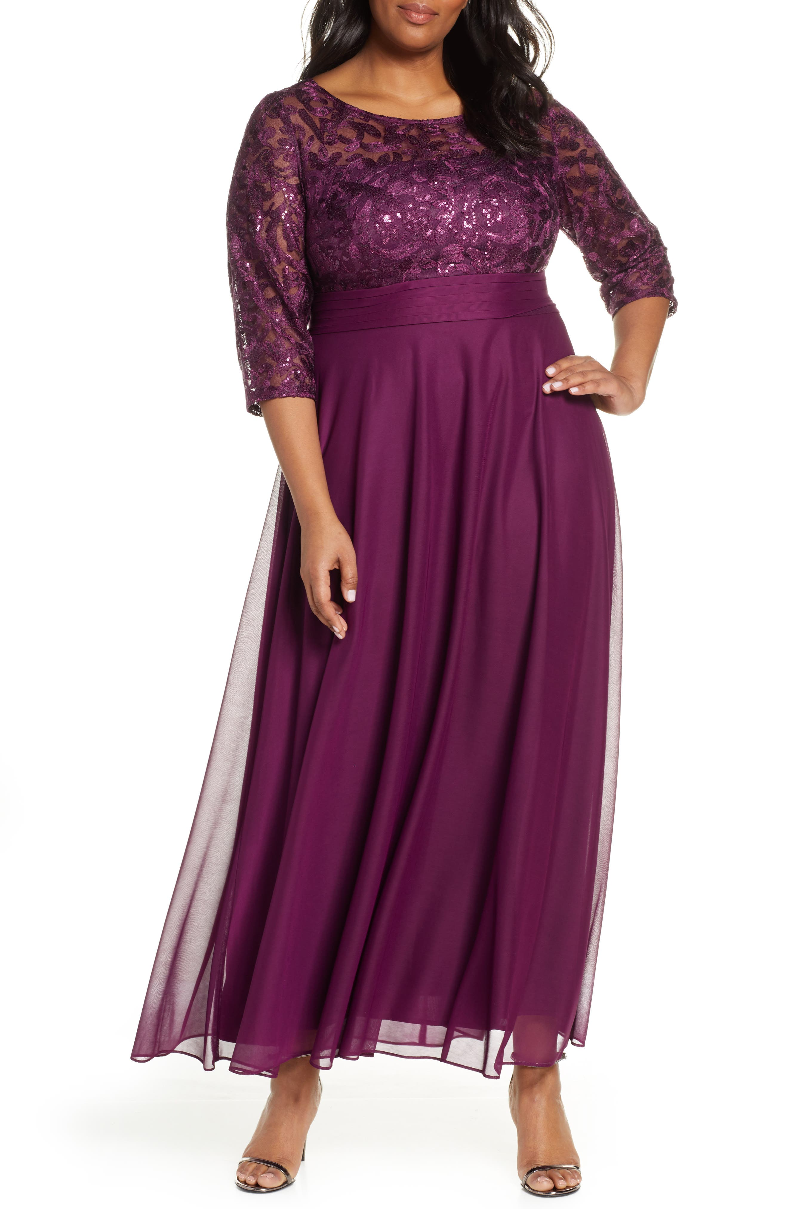 Plus Size Alex Evenings Sequin Embroidered Chiffon A-Line Gown, Purple