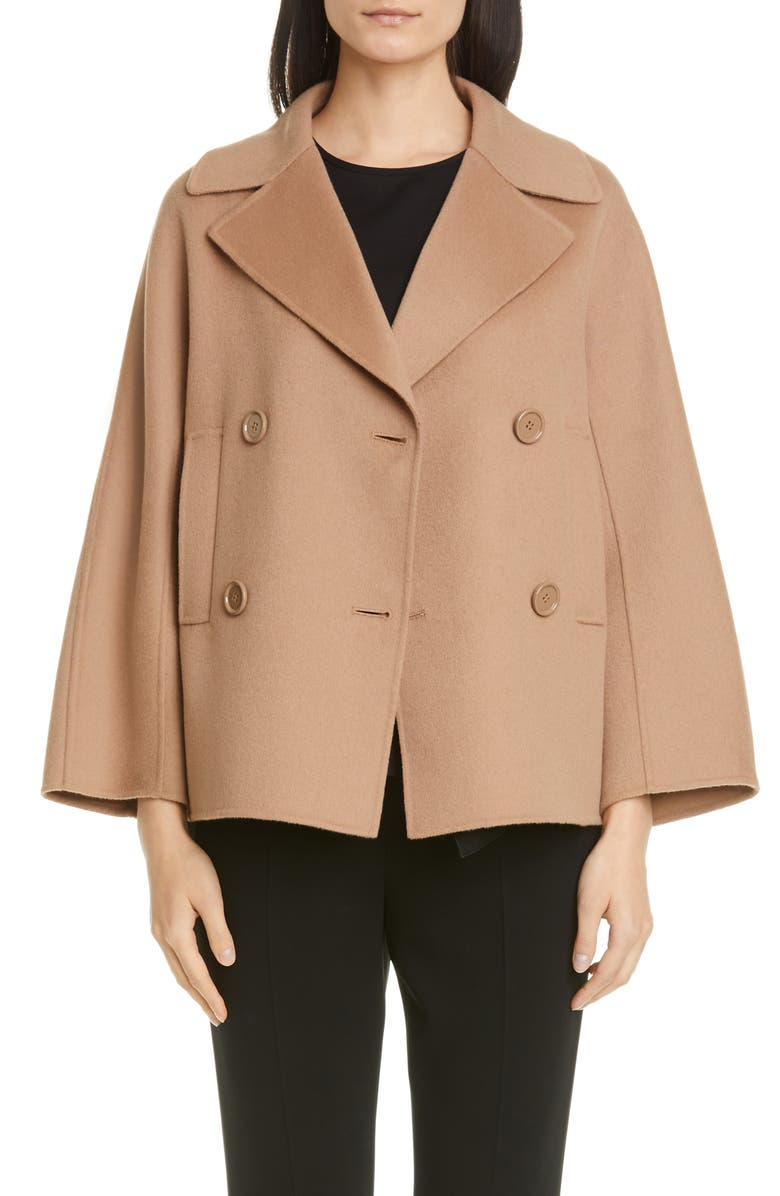 MAX MARA Connie Double Breasted Wool Coat, Main, color, CAMEL