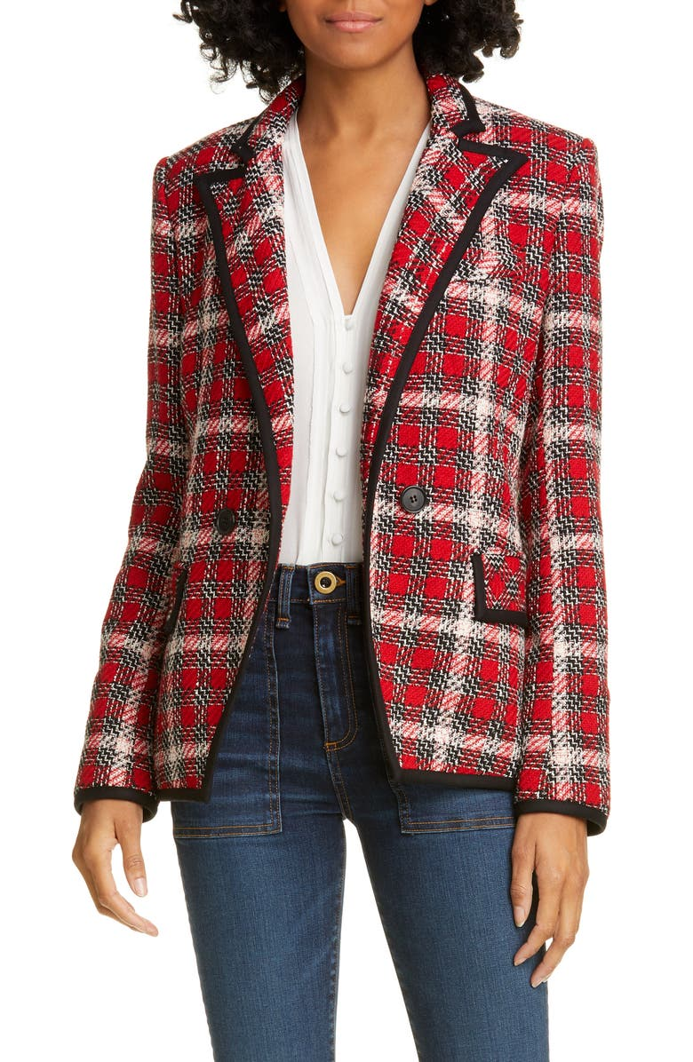 VERONICA BEARD Harriet Cutaway Blazer, Main, color, RED