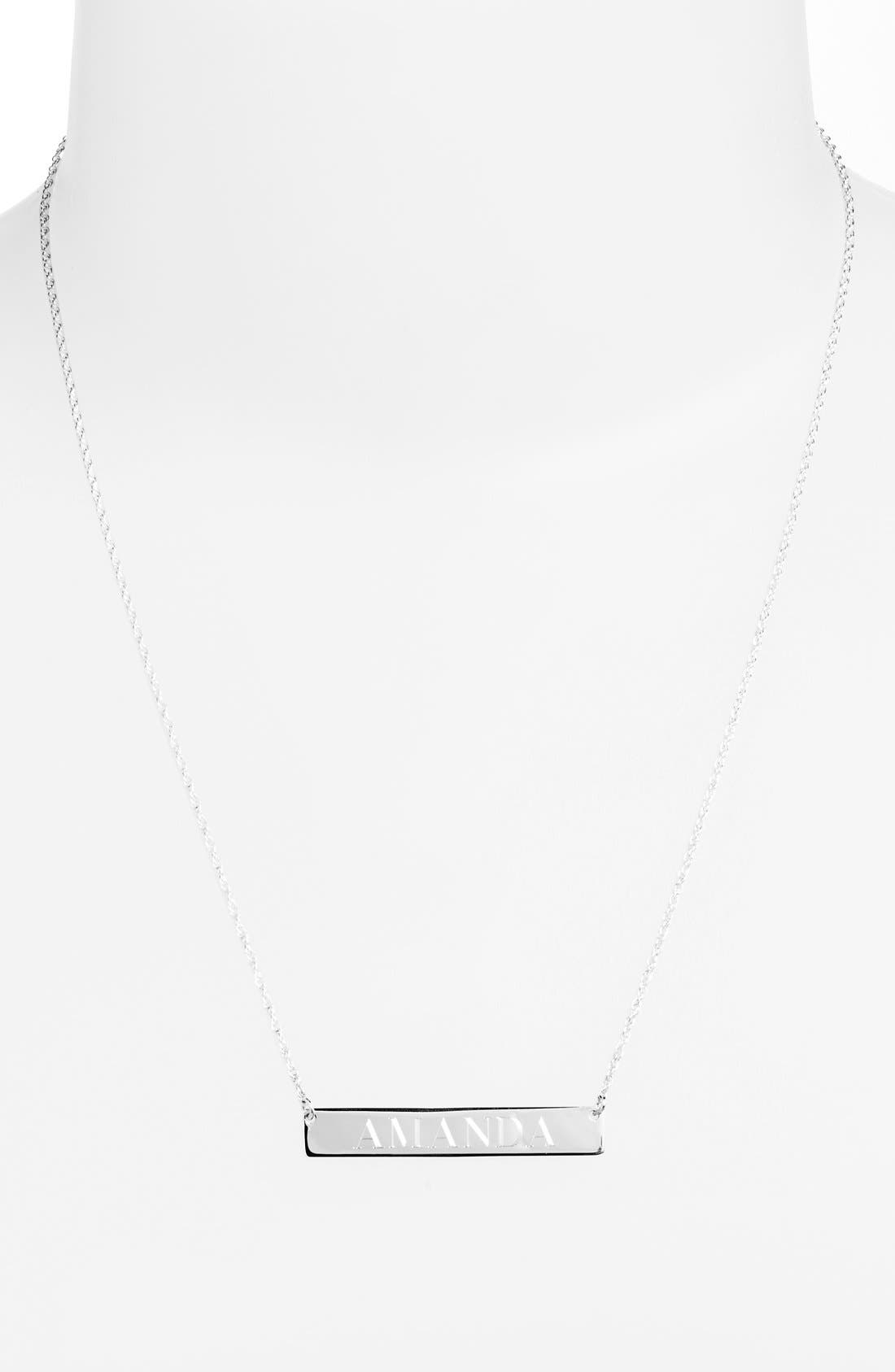 ,                             Personalized Bar Pendant Necklace,                             Alternate thumbnail 5, color,                             SILVER
