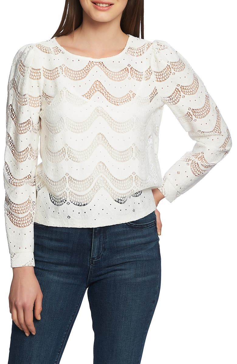 1.STATE Scalloped Lace Blouse, Main, color, SOFT ECRU