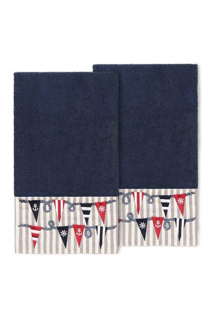 Image of LINUM HOME Ethan Embellished Bath Towel - Set of 2 - Midnight Blue