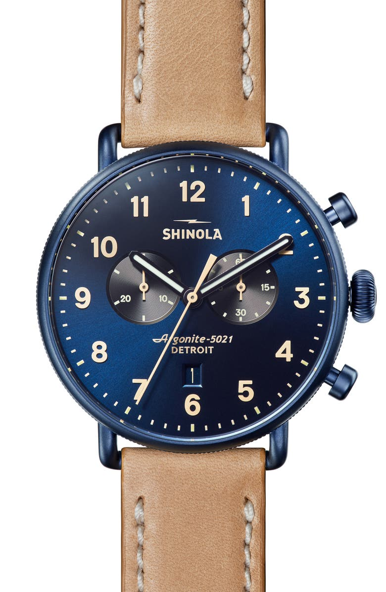 SHINOLA The Canfield Chrono Leather Strap Watch, 43mm, Main, color, NATURAL/ MIDNIGHT BLUE SUNRAY