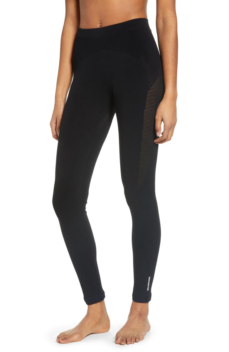 BALENCIAGA Sporty Mesh Inset Leggings, Main, color, BLACK
