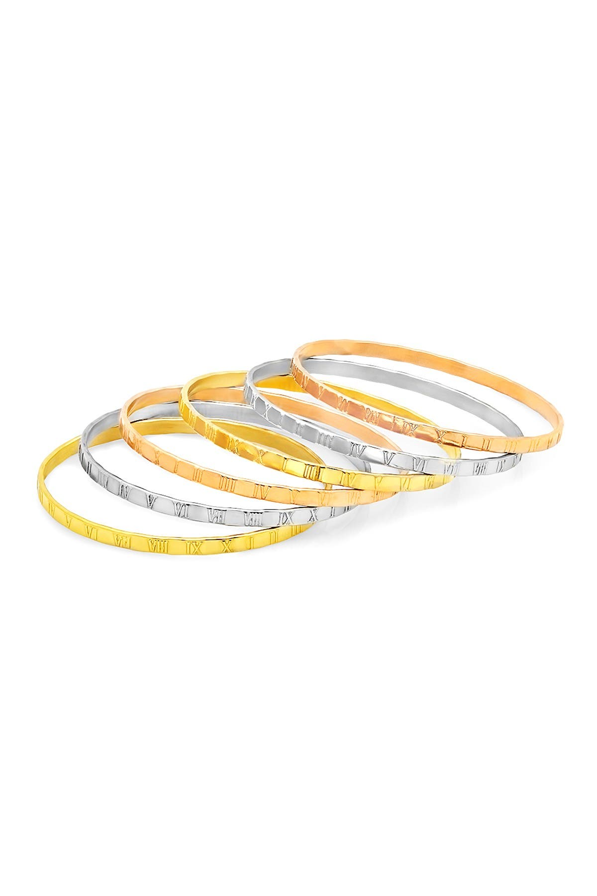 Image of HMY Jewelry Tricolor Roman Numeral Bangle Bracelet Set