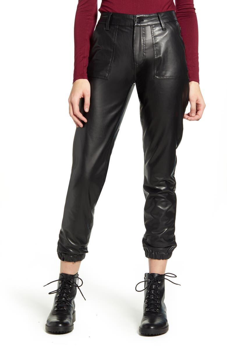 PROSPERITY DENIM Faux Leather Ankle Jogger Pants, Main, color, BLACK