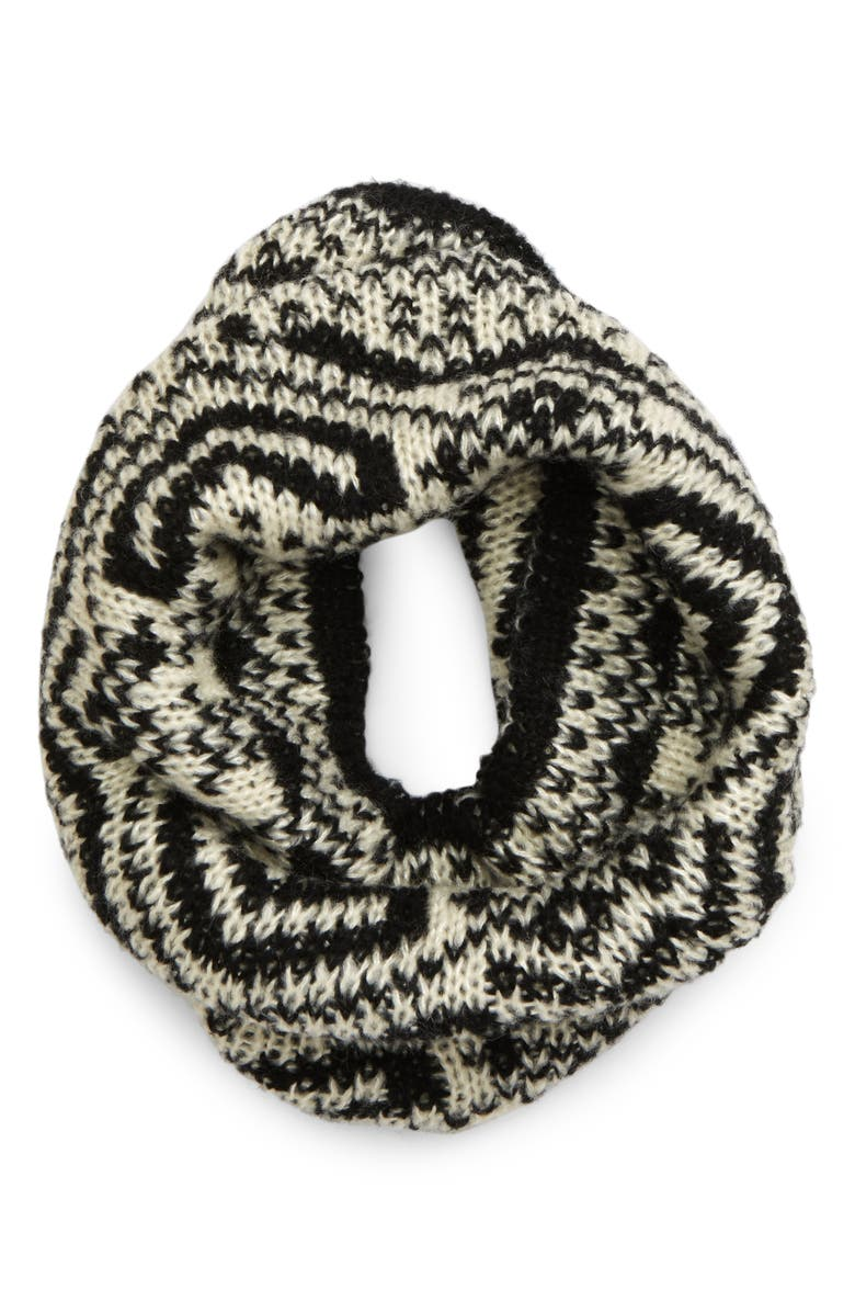 BP. Fair Isle Knit Snood, Main, color, BLACK COMBO