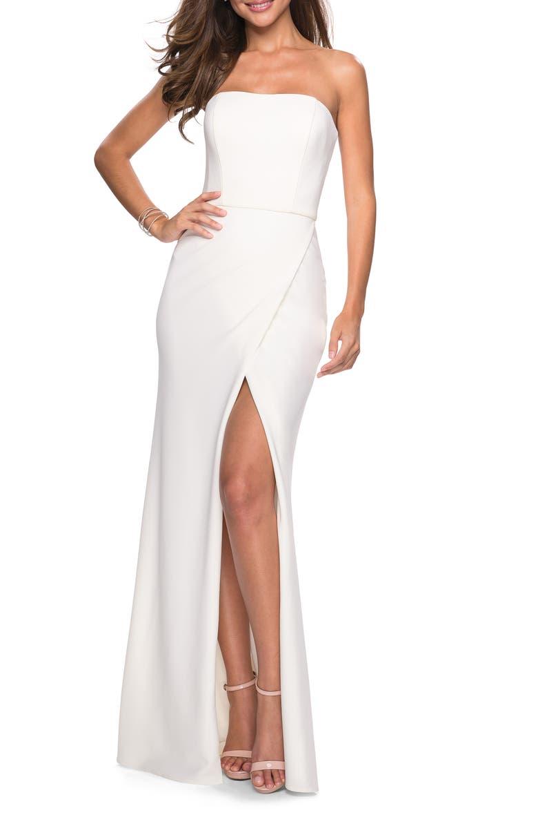 LA FEMME Strapless Jersey Evening Dress, Main, color, WHITE