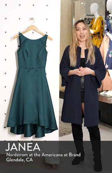 High/Low Satin Twill Cocktail Dress, sales video thumbnail