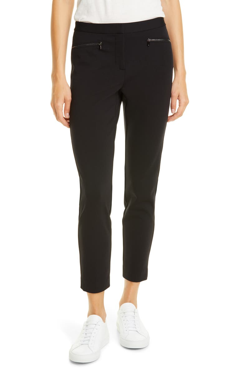 NORDSTROM SIGNATURE Exposed Zip Knit Pants, Main, color, BLACK