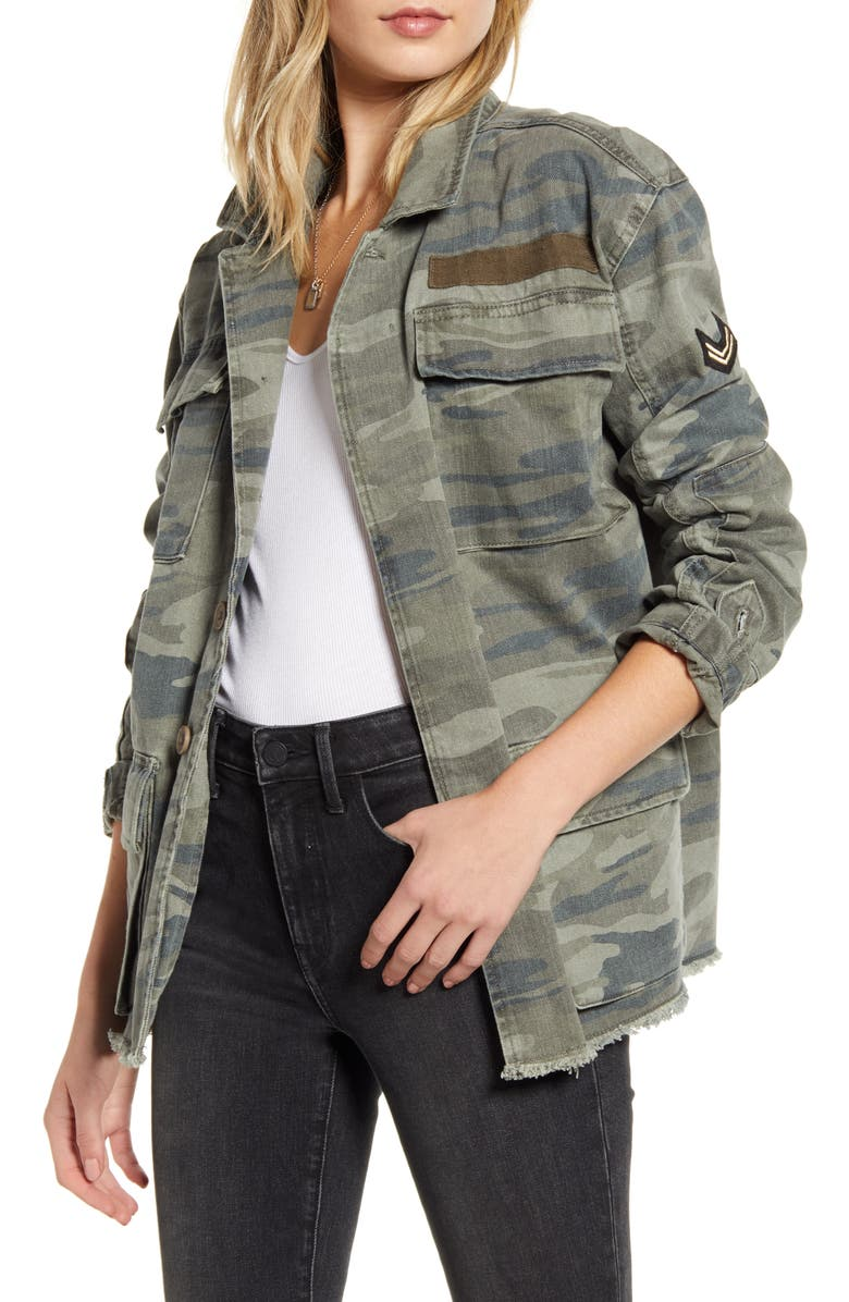 TREASURE & BOND Patch Detail Camo Cotton Jacket, Main, color, OLIVE- GREEN CAMO