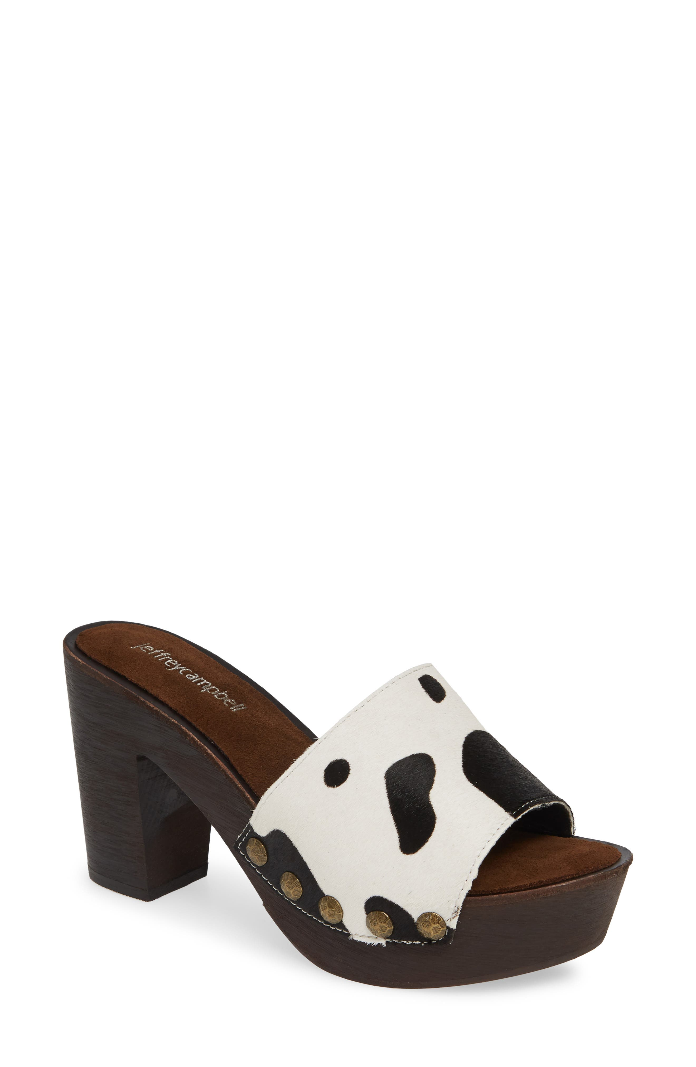 D-Light Genuine Calf Hair Platform Sandal, Main, color, BLACK/ WHITE COW PRINT