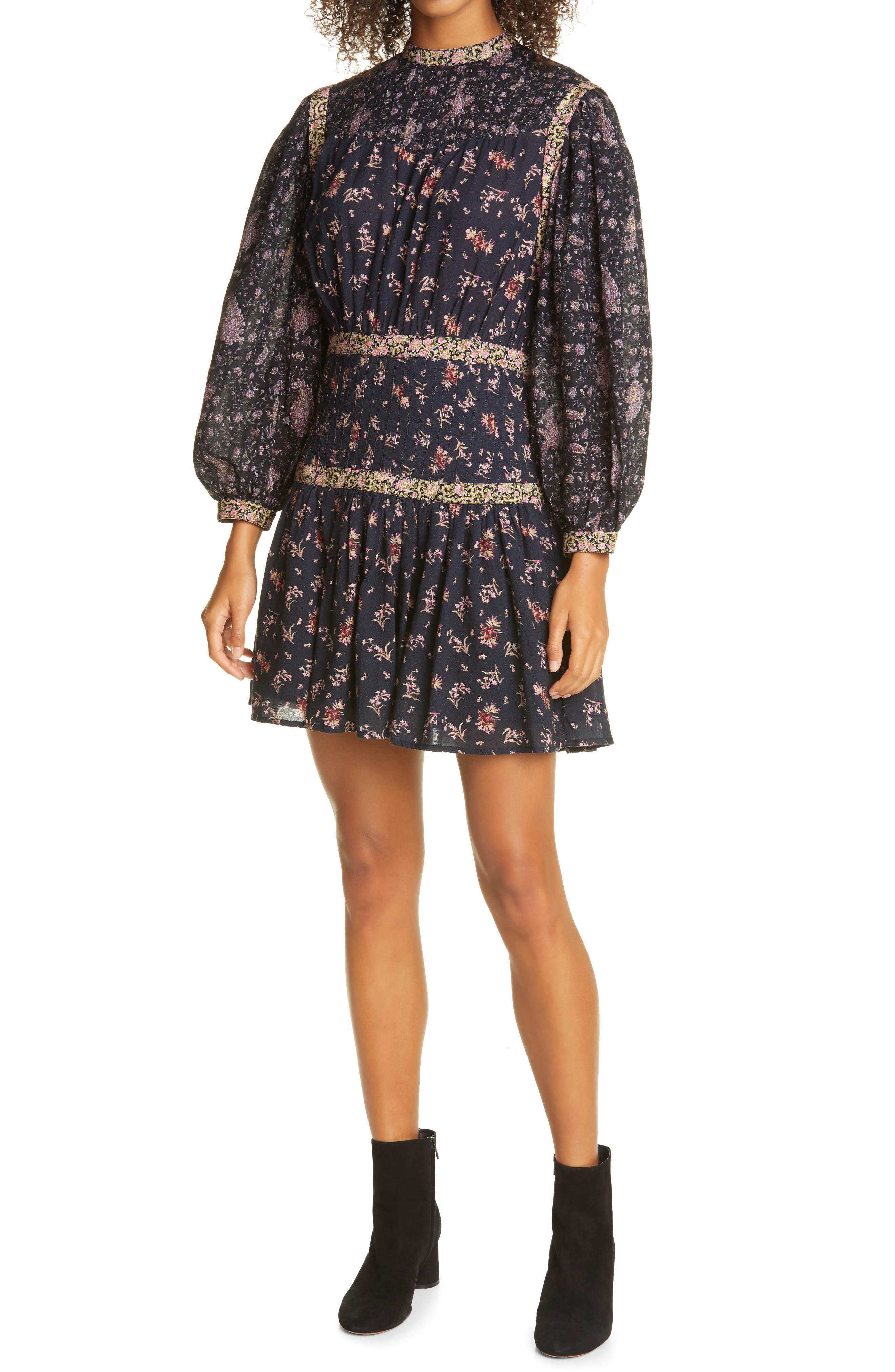 La Vie Rebecca Taylor Mixed Floral Print Long Sleeve Dress | Nordstrom