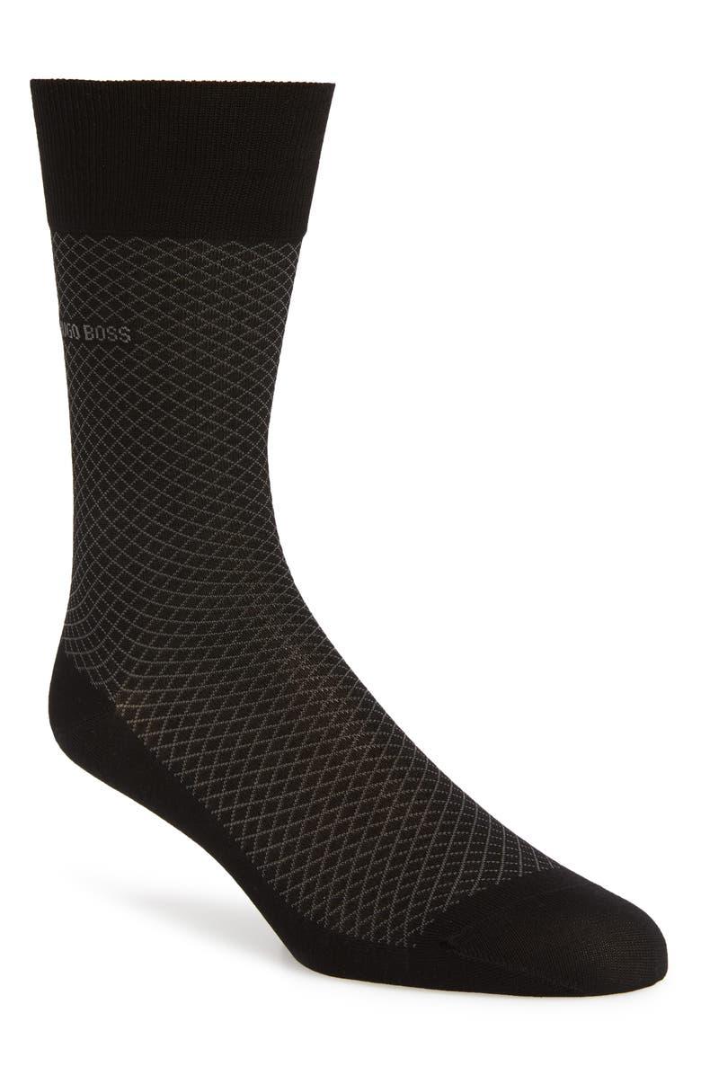 BOSS Dean Diamond Pattern Socks, Main, color, 001
