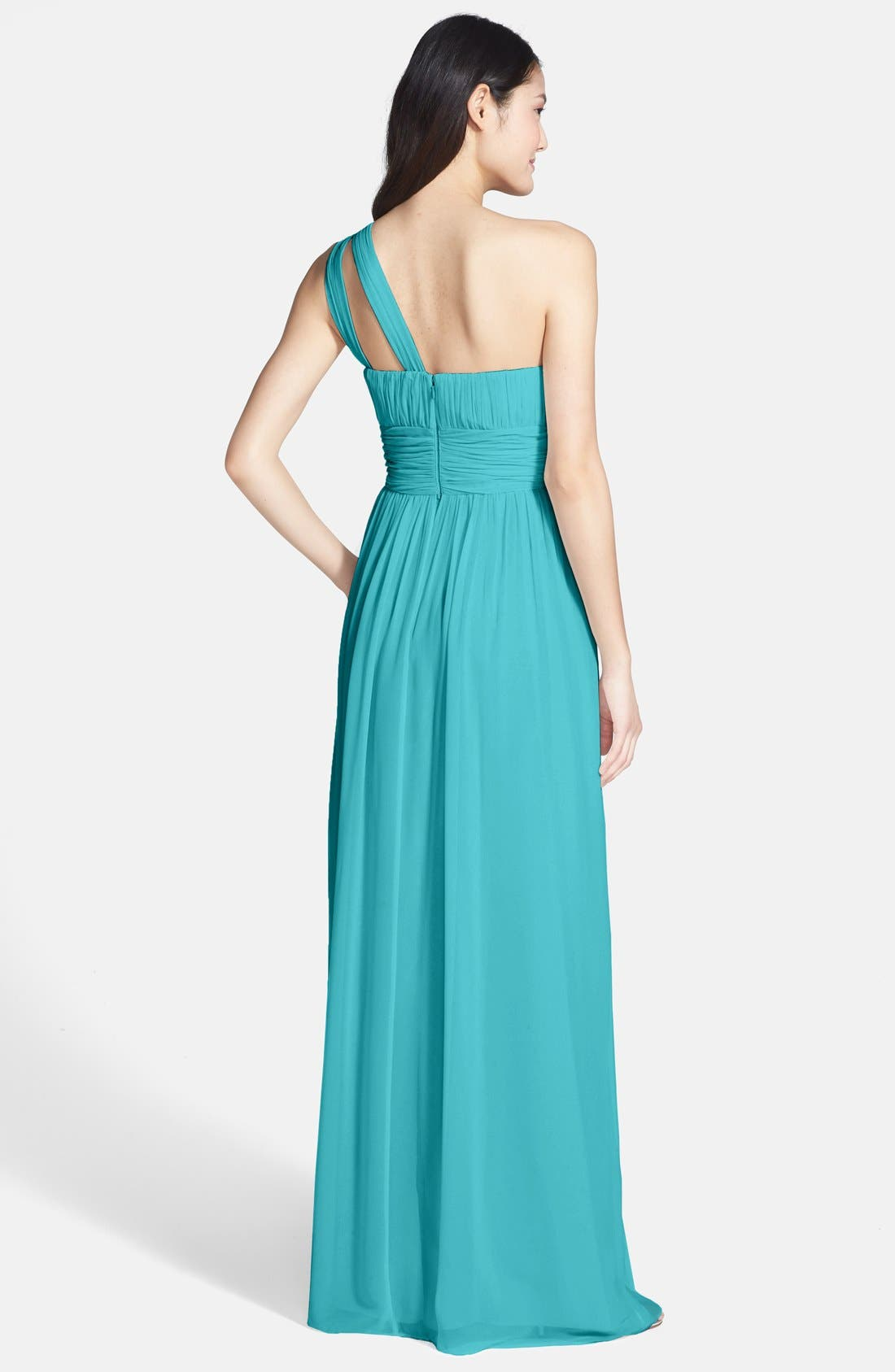,                             'Rachel' Ruched One-Shoulder Chiffon Gown,                             Alternate thumbnail 74, color,                             440