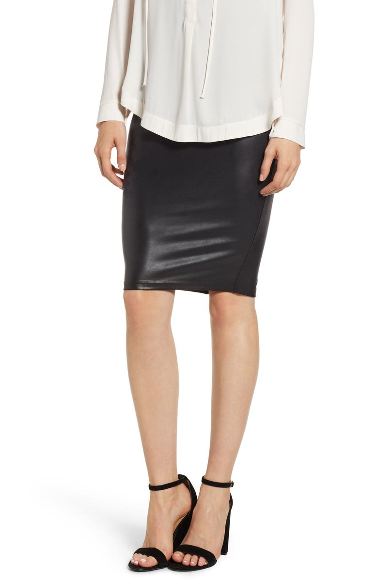 3662df89b1 Faux Leather Pencil Skirt, Main, color, VERY BLACK