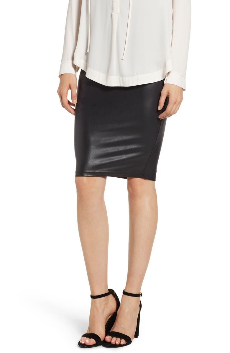 86d28e4f610eb Faux Leather Pencil Skirt, Main, color, VERY BLACK