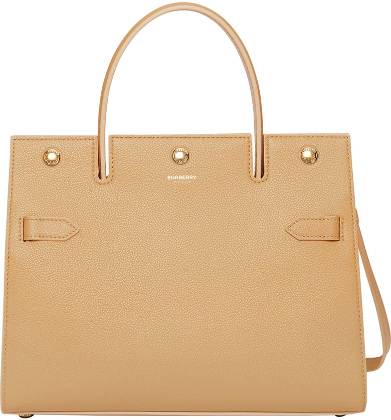 BURBERRY Small Title Leather Bag, Main, color, HONEY