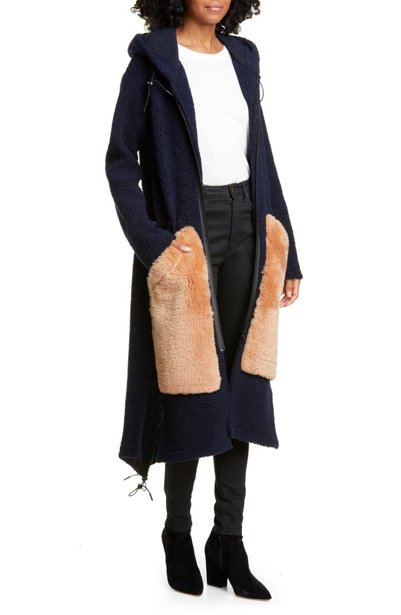 ANNE VEST Wool Blend Hooded Cardigan with Genuine Shearling Pockets, Main, color, 400