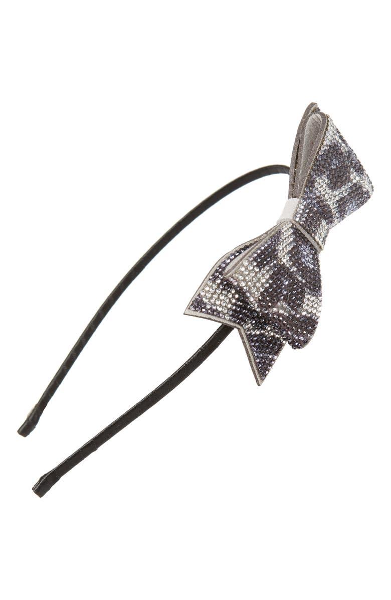 BARI LYNN Cheetah Print Crystal Bow Headband, Main, color, 001