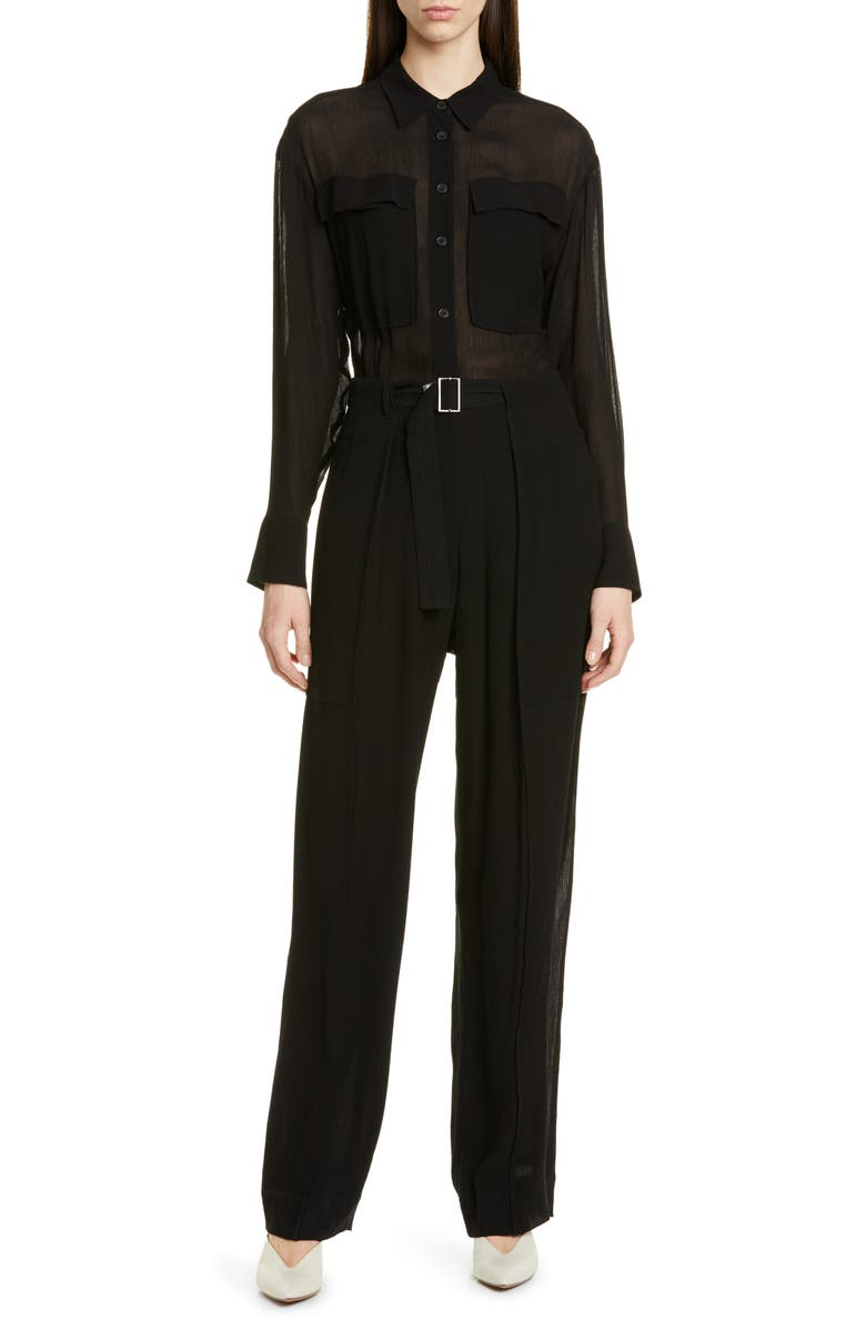 JASON WU Crinkle Jumpsuit, Main, color, BLACK