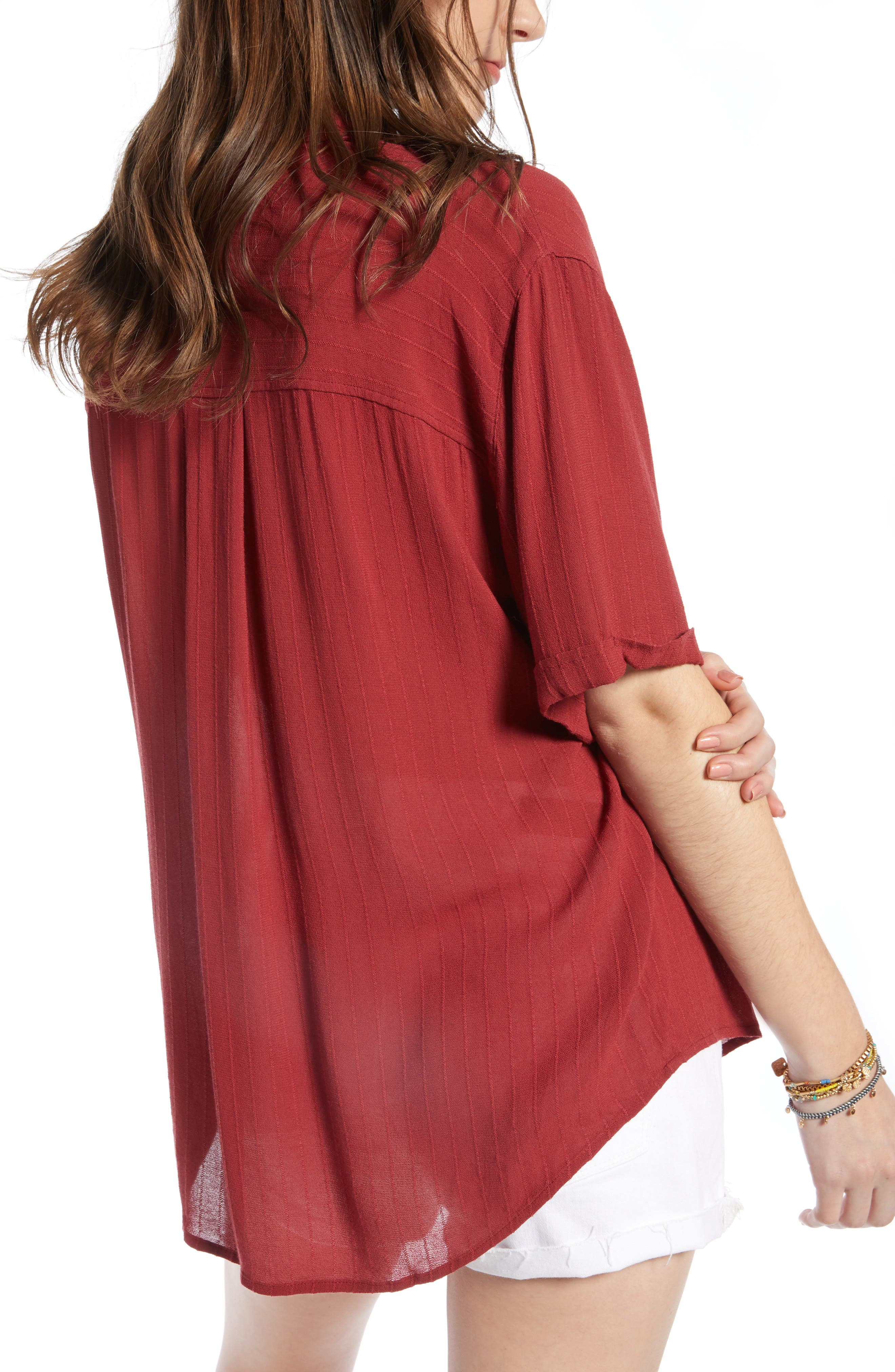 ,                             Relaxed Stripe Blouse,                             Alternate thumbnail 2, color,                             RED RUSSET