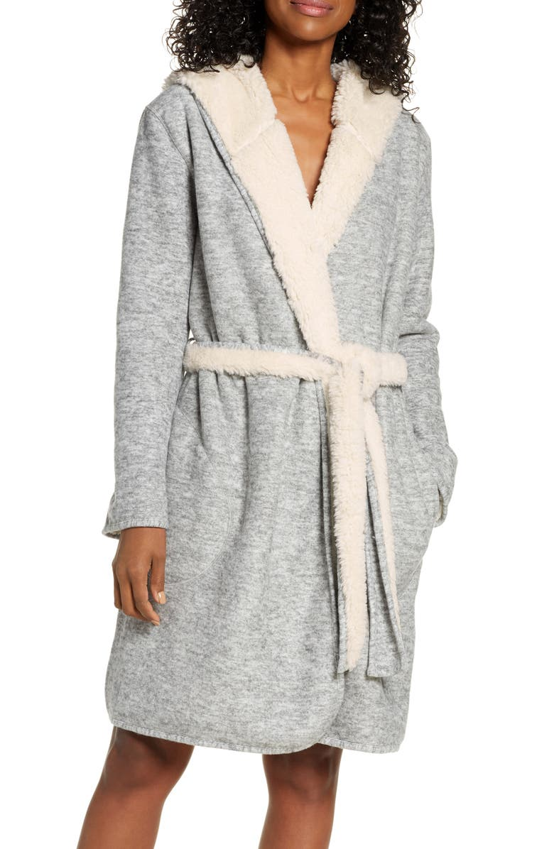 UGG<SUP>®</SUP> Portola Reversible Hooded Robe, Main, color, GREY HEATHER