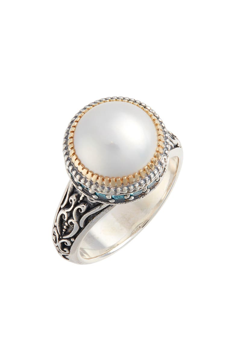 KONSTANTINO Thalia Pearl Ring with Blue Spinel, Main, color, SILVER/ PEARL