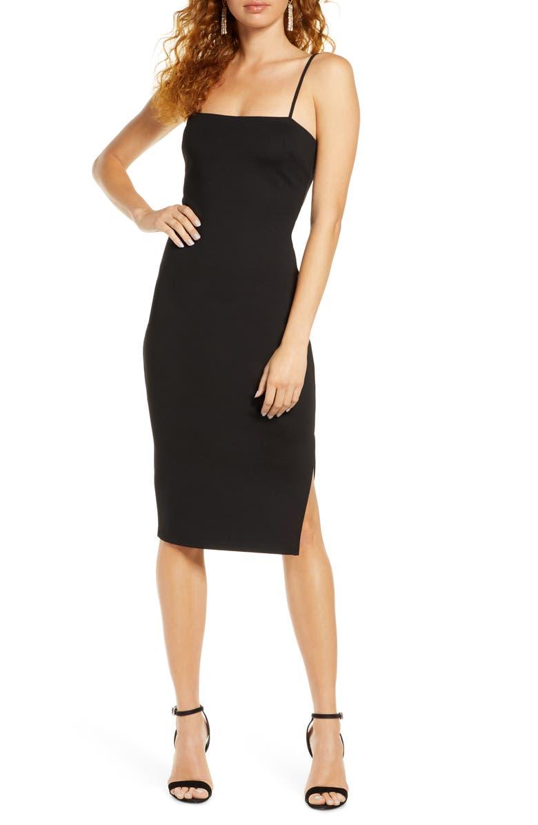 LULUS Paulina Square Neck Cocktail Sheath Dress, Main, color, BLACK