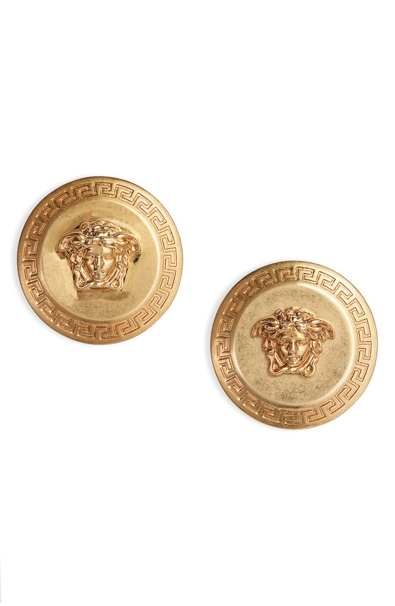 VERSACE Medusa Stud Earrings, Main, color, TRIBUTE GOLD