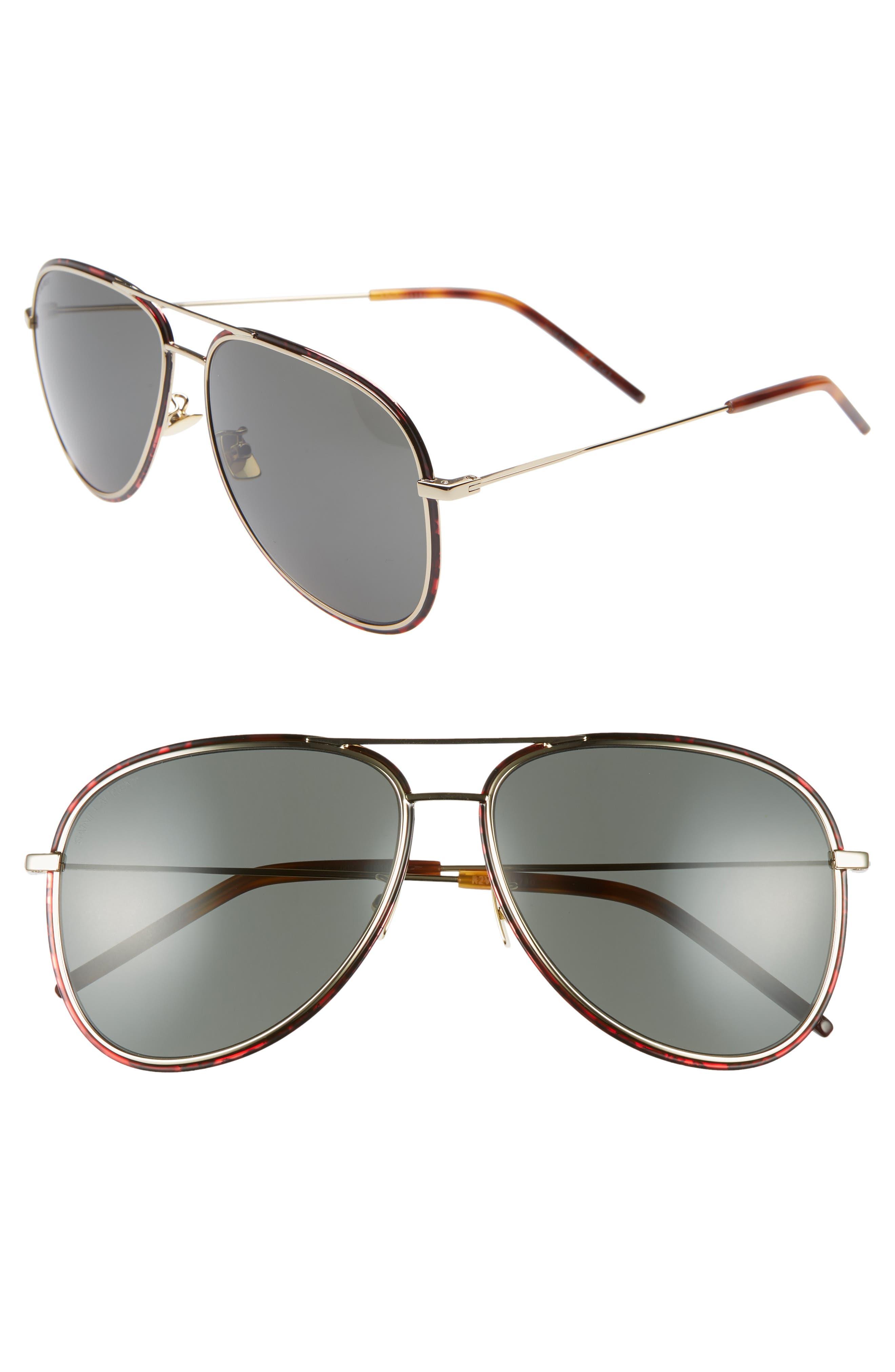 Saint Laurent 61Mm Aviator Sunglasses - Light Gold/ Black Red/ Grey